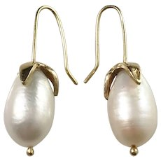Vintage 18k Gold Large Cultured Pearl Drop Earrings.