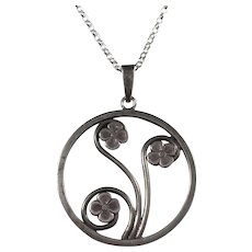 Persson , Sweden year 1945, Sterling Silver Floral Pendant w New Chain Necklace.