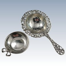 Early 1900s Solid 830 Silver Tea Strainer with Stand