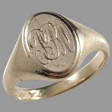 Maker CC&S Birmingham year 1897, Victorian 9k Gold Men's Monogram Signet Ring.