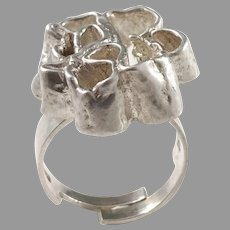 SSA, Stockholm year 1970 Modernist Abstract Sterling Silver Ring. Signed.