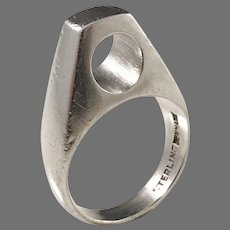 Jorgen Turk Kallesen, Copenhagen 1960s Modernist Sterling Silver Ring.