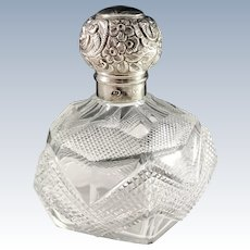 London year 1894 Victorian Sterling Silver Crystal Glass Large Perfume Bottle