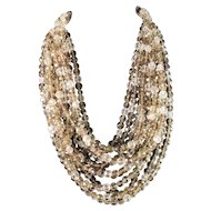 Coppola e Toppo, Italy 1950s Massive 12 Strand Costume Jewelry Necklace. 11.3oz