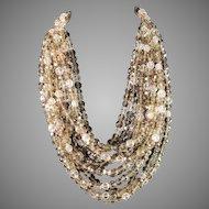 Coppola e Toppo, Italy 1950s Massive 12 Strand Costume Jewelry Necklace. 11.3oz