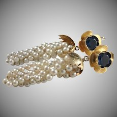 Huge Vintage 18k Gold Cultured Pearl Synthetic Spinel Dangle Earrings. 28.6gram