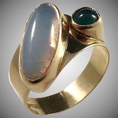 Röijersten & Cederwall, Stockholm year 1955 Mid Century Modern 18k Gold Moonstone Tourmaline Ring.