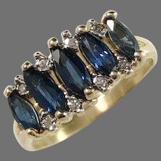 Italy Mid Century 18k Gold Diamond Sapphire Ring.