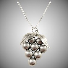 Tage Linde, Sweden year 1952 Sterling Silver Grape Cluster Pendant w New Sterling Chain Necklace