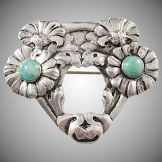 North Europe early 1900s Art Nouveau 830 Silver Brooch.