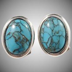 Niels Erik From, Denmark 1960s Sterling Silver Turquoise Clip-on Earrings.