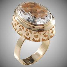 Örneus, Stockholm year 1969 Modernist 18k Gold Rock Crystal Ring. Excellent.