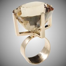 Stig A Johansson, Sweden 1964 Massive Modernist 18k Gold  65ct Citrine Ring. 29.8gram