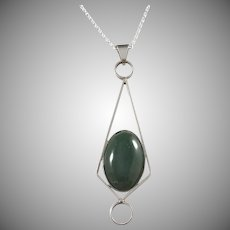 Germany 1960s Solid 835 Silver Green Stone Pendant Necklace.