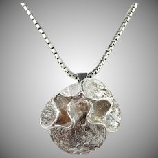 Theresia Hvorslev Sweden 1979 Design Water Lily Sterling Silver Pendant Necklace.