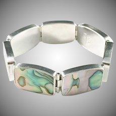 Palle Bisgaard, Denmark 1960s Chunky Sterling Silver Abalone Bracelet.