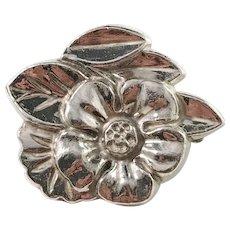 Matsilver, Sweden year 1946, Sterling Silver Mid Century Flower Brooch.