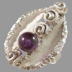 Swedish Import 1960s Modernist Sterling Silver Amethyst Adjustable Ring