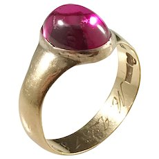 20k Gold Pink Synthetic Sapphire Ring. Band Hallmarked for CA Bjorklund year 1886. Face Later.
