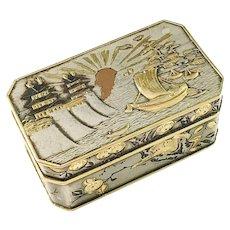 Maker Koichi, Japan Meiji Early 1900s Shibu-ichi Gold Mixed Metal Enamel Box,