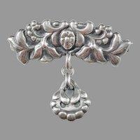 Bernhard Hertz, year 1916 Art Nouveau Skonvirke 825 Silver Brooch.