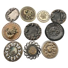 Lot Late Georgian to mid Victorian Antique Large Buttons. Brass, Metal Wood Horn.