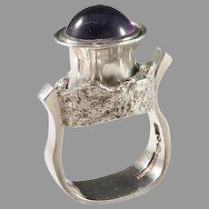 Robbert, Sweden year 1975 Massive Modernist Sterling Silver Amethyst Ring. Signed