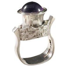 Robert, Sweden year 1975 Massive Modernist Sterling Silver Amethyst Ring. Signed