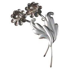 Victor Janson Sweden year 1946 Mid Century Solid Silver Flower Brooch.