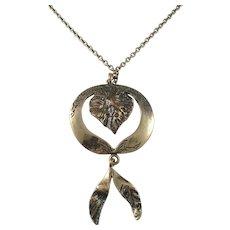 Polar Koru, Finland Vintage Bronze Pendant Necklace.