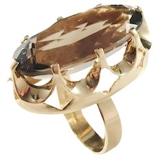 Örneus, Stockholm year 1960 Bold Modernist 18k Gold Smoky Quartz Ring. Excellent.