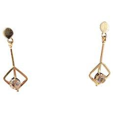 Tre Smeder, Gothenburg 1968-78, Dangle 18k Rock Crystal Earrings.