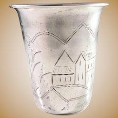 Antique Russian 840 Silver Vodka Cup Beaker.