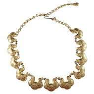 Signed Florenza, Mid Century Costume Jewelry Necklace.