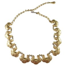 Signed Florenza, Mid Century Costume Jewelry Necklace.