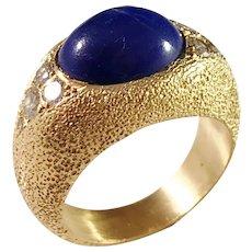 Italy 1960s Vintage Chunky 18k Gold 0.4ctw Diamond Lapis Lazuli Dome Ring.