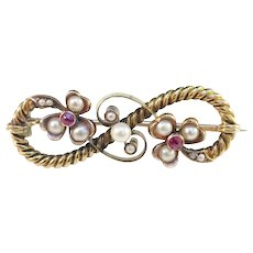 Victorian 14k Gold Ruby and Pearl Brooch.