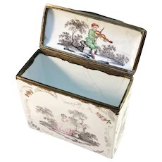 France c 1780 Georgian Painted Enamel Novelty Nécessarie Vanity Box.