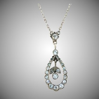 HJ, Germany early 1900s 830 Silver Foiled Back Paste Stone Small Pendant Necklace.