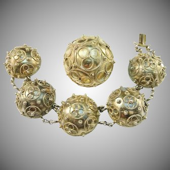 Carl L Moberg, Sweden year 1875 Victorian Gold Washed Silver Dome Bracelet and Brooch