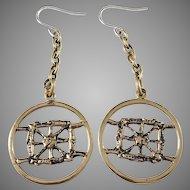 Pentti Sarpaneva Finland 1960-70s Bronze Sterling Earrings.