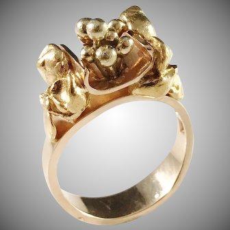 Claes E Giertta, Stockholm 1969 Modernist 18k Gold Ring. Excellent. Signed. 11.6gram