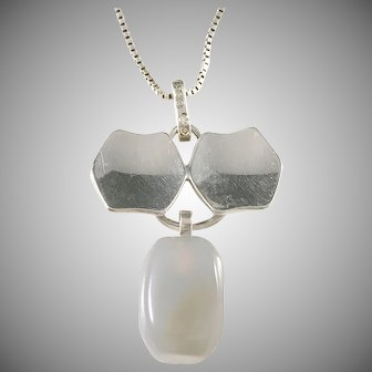 Hedberg, Sweden year 1963 Sterling Silver Moonstone Pendant Necklace