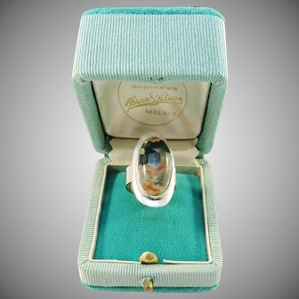 Swedish Import 1960s Modernist Sterling Silver Moss Agate Ring. Retailers Box.
