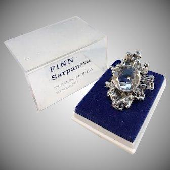 Pentti Sarpaneva Finland year 1970 Solid Silver Rock Crystal Ring. In Original Box