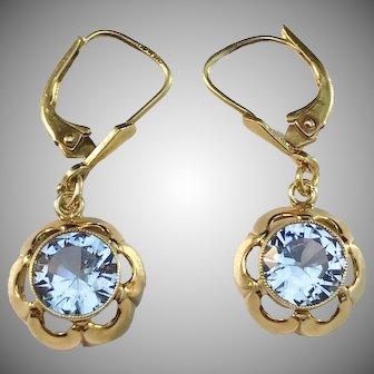 Ehlers, Denmark Mid Century 14k Gold Synthetic Spinel Earrings.