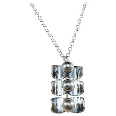 Kultasepat Salovaara, Finland 1970s Modernist Solid Silver Pendant with a new Sterling SIlver Chain Necklace.