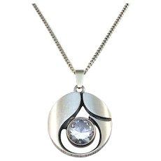 Karl Laine, FinnFeelings, Finland Vintage Sterling Silver Rock Crystal Pendant Necklace.