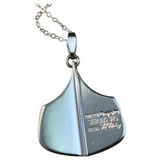 KE Palmberg for ALTON year 1972 Sterling Silver Pendant Necklace.