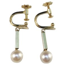Ateljé Stigbert Stockholm year 1967 Modernist 18k Gold Cultured Pearl Earrings.
